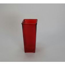 Red Tapered Glass Rose Vase